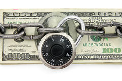 Lock and us dollar stock image