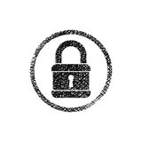 Lock vector icon with hand drawn lines texture Royalty Free Stock Images