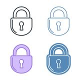 The lock vector outline icon set. Data protection concept. The lock vector outline icon set. Data protection, information safety line symbols and pictograms Royalty Free Stock Photography