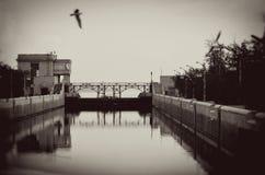 Lock on the Volga river. Stock Photo