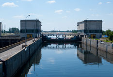 A lock on the Volga river. One of the locks on the Volga river royalty free stock photos