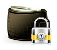 Lock and wallet. Computer illustration Royalty Free Stock Image