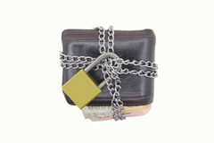 Lock the wallet by chain. And lock Royalty Free Stock Photos