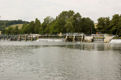 Lock and Weir at Mapledurham, Berkshire Royalty Free Stock Image