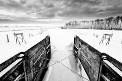 Lock in a white winter landscape Royalty Free Stock Image