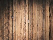 Lock on wood door Stock Photo