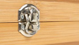 Lock on wooden box Stock Photos
