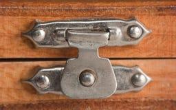 Lock on a wooden box. Macro Stock Photography