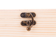 Lock on wooden jewelry box. Royalty Free Stock Photo