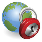 Lock and world globe Royalty Free Stock Photo