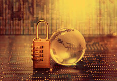 Lock and world map Stock Image