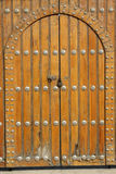 Lock on the yellow wooden door Royalty Free Stock Photo