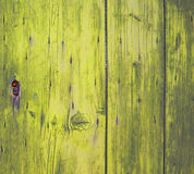Lock on yellow wooden door Royalty Free Stock Photography