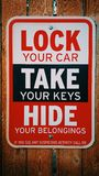 Lock Your Car - Take Your Car Keys Sign Royalty Free Stock Photos