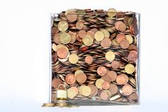 Lock your money. Box with money and lock Royalty Free Stock Image