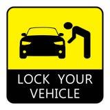 Lock your vehicle- Car parking board vector illustration