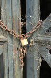 Lock2. Old spider-web covered lock on mausoleum gate Royalty Free Stock Photography