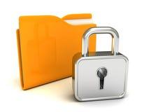 Locked желтый скоросшиватель с закрытым padlock на белизне Стоковое Изображение