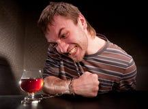 Locked alcoólico ao vidro do álcool foto de stock royalty free