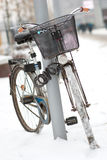 Locked bicycle royalty free stock photo