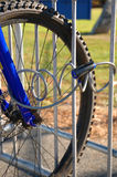 Locked Bicycle. Bicycle locked to prevent theft Stock Images