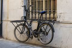 Locked bicycle stock photography