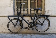 Locked bicycle royalty free stock photography