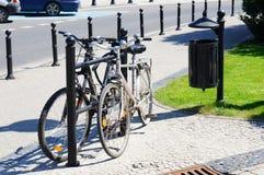 Locked bicycles Royalty Free Stock Photo