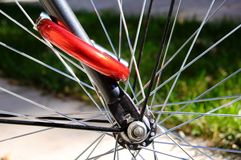 Locked Bike Wheel Royalty Free Stock Image