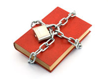 Locked book. Book locked with padlock and chains Royalty Free Stock Photo