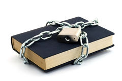 Locked book. Book locked with padlock and chains Stock Images