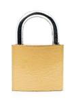 Locked brass clean padlock on white Royalty Free Stock Photo