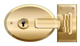 Locked Brass Lock.  Vector EPS10 Illustration. Stock Photos