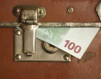 Locked case. Euro bills within locked case stock images