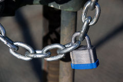 Locked Chained With Padlock Stock Photos