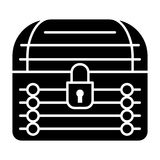 Locked chest solid icon. Treasure chest vector illustration isolated on white. Closed trunk glyph style design, designed stock illustration