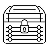 Locked chest thin line icon. Treasure chest vector illustration isolated on white. Closed trunk outline style design vector illustration