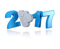 Locked Cloud 2017 with a White Background Royalty Free Stock Images