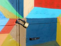Locked colorful door Stock Photography