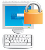Locked computer icon Stock Images
