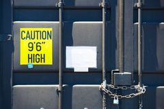 Locked container door with chain Stock Image