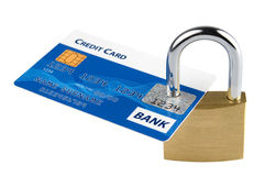 Locked credit card. Credit card locked with security lock Stock Photo
