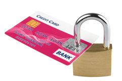 Locked credit card. Credit card locked with security lock. Isolated on white background Stock Images