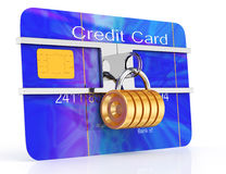 Locked credit card. On white background. 3d render Royalty Free Stock Photos