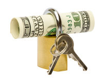 Locked dollar banknotes Royalty Free Stock Photo