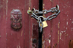 Locked door closeup Royalty Free Stock Images