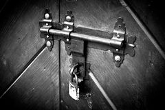 Locked door. Old lock. Stock Photo