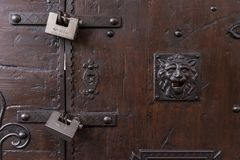 Locked door with padlock on the Vecchio bridge, Florence Royalty Free Stock Image