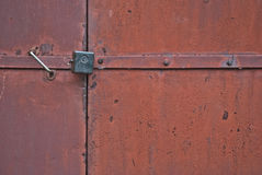 Locked doors of the garage Stock Images