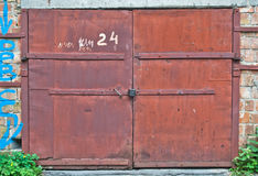Locked doors of the garage Royalty Free Stock Photo